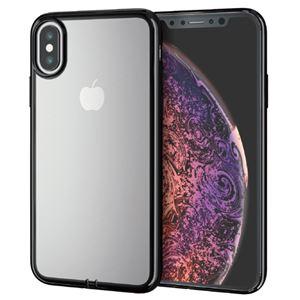 (まとめ)エレコム iPhone XS/ソフトケース/サイドメッキ/ブラック PM-A18BUCTMBK【×2セット】