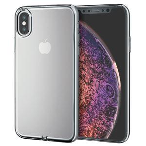 (まとめ)エレコム iPhone XS/ソフトケース/サイドメッキ/シルバー PM-A18BUCTMSV【×2セット】