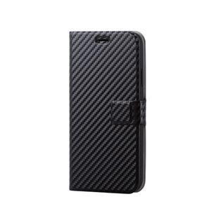 (まとめ)エレコム iPhone XR/ソフトレザーカバー/薄型/磁石付スナップ/カーボン調(ブラック) PM-A18CPLFUSCB【×2セット】
