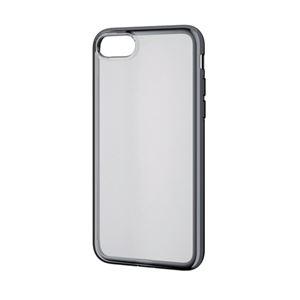 (まとめ)エレコム iPhone8/ソフトケース/サイドメッキ/ブラック PM-A17MUCTMBK【×2セット】