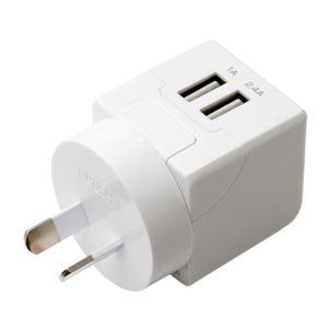 (まとめ)ミヨシ 海外旅行用USB充電器 2.4A Oタイプ MBP-TO【×2セット】