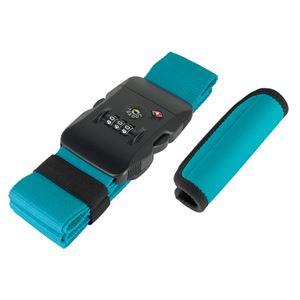 (まとめ)ミヨシ TSA対応スーツケースベルトグリップセット ブルーグリーン MBZ-MZ03/BG【×2セット】