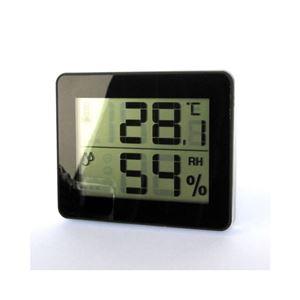 (まとめ)YAZAWA デジタル温湿度計 ブラック DO01BK【×5セット】