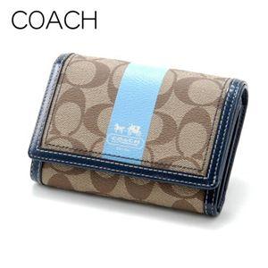 COACH(コーチ) 財布 ヘリテージ ストライプ コンパクト クラッチ 40920 ブルー/BKHBL