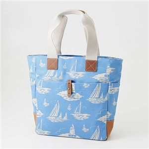 Cath Kidston(キャスキッドソン)縦型トート TALL TOTE WITH LEATHER 244701 Chiswick Flower Stone/Boat Royal Blue