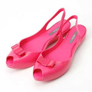 melissa(メリッサ) リボン オープントゥ ラバーサンダル Pink 39(約:24.5〜25.0cm)
