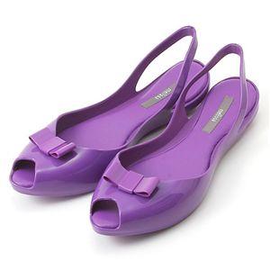 melissa(メリッサ) リボン オープントゥ ラバーサンダル Purple 38(約:23.5〜24.0cm)
