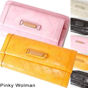 Pinky Wolman(ピンキーウォルマン) エナメル 長財布 Yellow 34504・ラウンド
