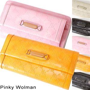 Pinky Wolman(ピンキーウォルマン) エナメル 長財布 Ivory 34503・ホック