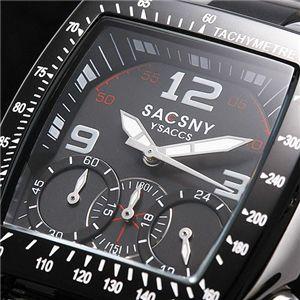 SACSNY Y'SACCS(サクスニー イザック) クロノグラフ ブレスウォッチ SY-15023-BK/スクエア・ブラック