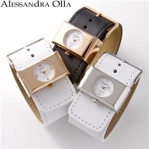 Alessandra Olla(アレサンドラ オーラ) レディース レザーベルトウォッチ  AO-13000-1/シルバー×ホワイト
