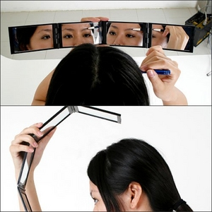 4連チェックミラー「見えるんです!」&鼻毛カッターレディースセット