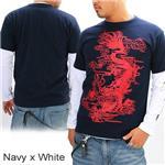 ZEKOO 和柄Tシャツ&ロングTシャツ レイヤード2枚組み ネイビー×ホワイト M