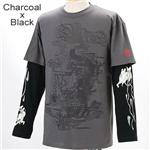 ZEKOO 和柄 Tシャツ&ロングTシャツ レイヤード2枚組み チャコール×ブラック M