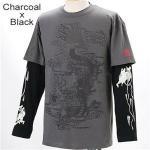 ZEKOO 和柄 Tシャツ&ロングTシャツ レイヤード2枚組み チャコール×ブラック XL