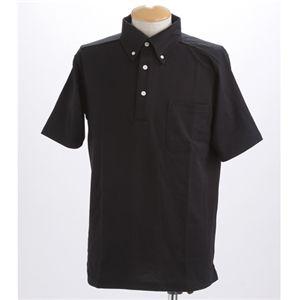 COOLBIZ 吸汗速乾ドライメッシュボタウンダウン 鹿の子ポロシャツ ブラック Lサイズ