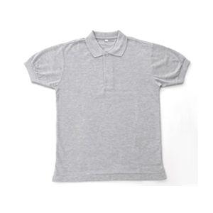 無地鹿の子ポロシャツ 杢グレー LL