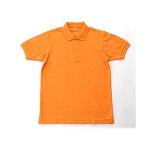 無地鹿の子ポロシャツ オレンジ  3L