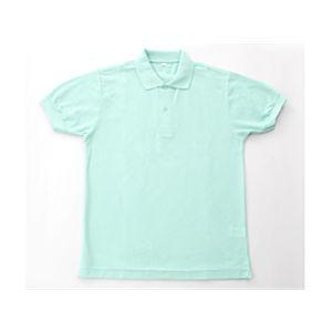 無地鹿の子ポロシャツ ミントグリーン  L