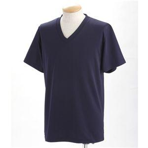 ドライクールファースト立体裁断 Vネック&Uネック Tシャツ2枚セット ネイビー XL