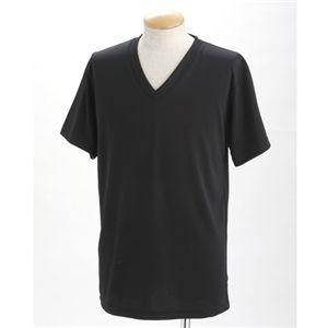 ドライクールファースト立体裁断 Vネック&Uネック Tシャツ2枚セット ブラック L