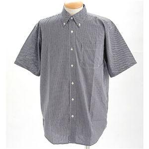 ギンガムチェックノーアイロン形態安定半そでシャツ ネイビー LL