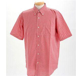 ギンガムチェックノーアイロン形態安定半そでシャツ レッド EL