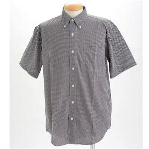 ギンガムチェックノーアイロン形態安定半そでシャツ ブラック S