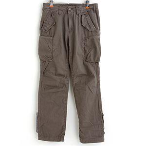 ロールアップコンシールジッパーポケットパンツ グレーブラウン XL