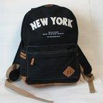 綿キャンパス「NEW YORK」ロゴ入りリュックサック OZR-1590 ブラック