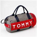 TOMMY HILFIGER(トミーヒルフィガー) ボストンバッグ L500039-004 グレー/レッド