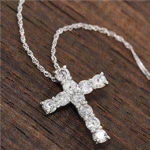 PT1000(純プラチナ)計0.5ctダイヤモンドクロスペンダント(十字架ネックレス)約42cm