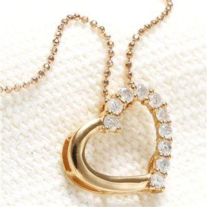 K18 PG オープンハートダイヤモンドネックレス