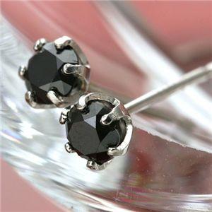 PT0.4ctブラックダイヤモンドピアス