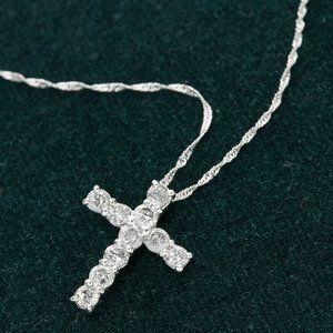 K18WG 0.5ctダイヤモンドクロスペダント ネックレス /192127