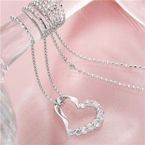 K18WG 0.3ctハートダイヤペンダント ネックレス