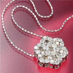 K18WG 合計1ctダイヤモンドペンダント ネックレス