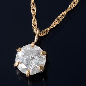 K18 0.3ctダイヤモンドペンダント/ネックレス スクリューチェーン(鑑定書付き)