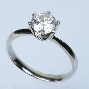 プラチナPt900 1.0ct一粒ダイヤリング 指輪 (鑑別書付き)  17号