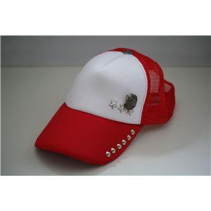 スタッズ付きクラッシュ加工CAP NA0203(赤x白)