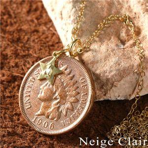 Neige Clair(ネージュクレア) K18ダイヤモンドチャーム付き インディアンコインペンダント