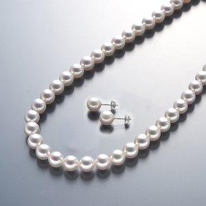 真珠総合研究所 あこや真珠<花珠>8-8.5mmネックレス&イヤリングセット