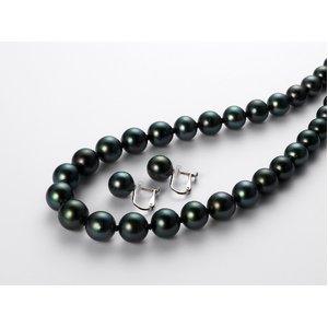 黒蝶真珠オーロラピーコック8-10mmネックレス&イヤリングセット