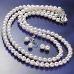 あこや真珠 6.5mm-7mm 3点セット ピアスセット(パールネックレス42cm1本 パールネックレス47cm1本 パールピアス1ペア 計3点) 【本真珠】