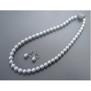 トリートブルーグレーあこや真珠8-8.5mmネックレス&イヤリングセット