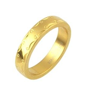 ステンレスリング アラベスク模様 ゴールドカラー 19号
