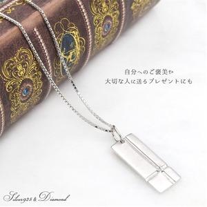 天然ダイヤモンドのシルバー925ネックレス  クロスラインプレート