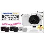 Panasonic(パナソニック) LUMIX DMC-GF3 ダブルレンズ対応カメラケース ストラップ付 レザーブラック