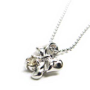 シルバー リボン誕生石ネックレス 4月 ダイヤモンド
