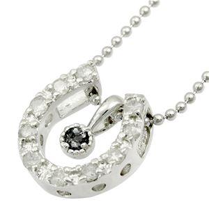シルバー 馬蹄2トップ誕生石ネックレス 4月 ブラックダイヤモンド